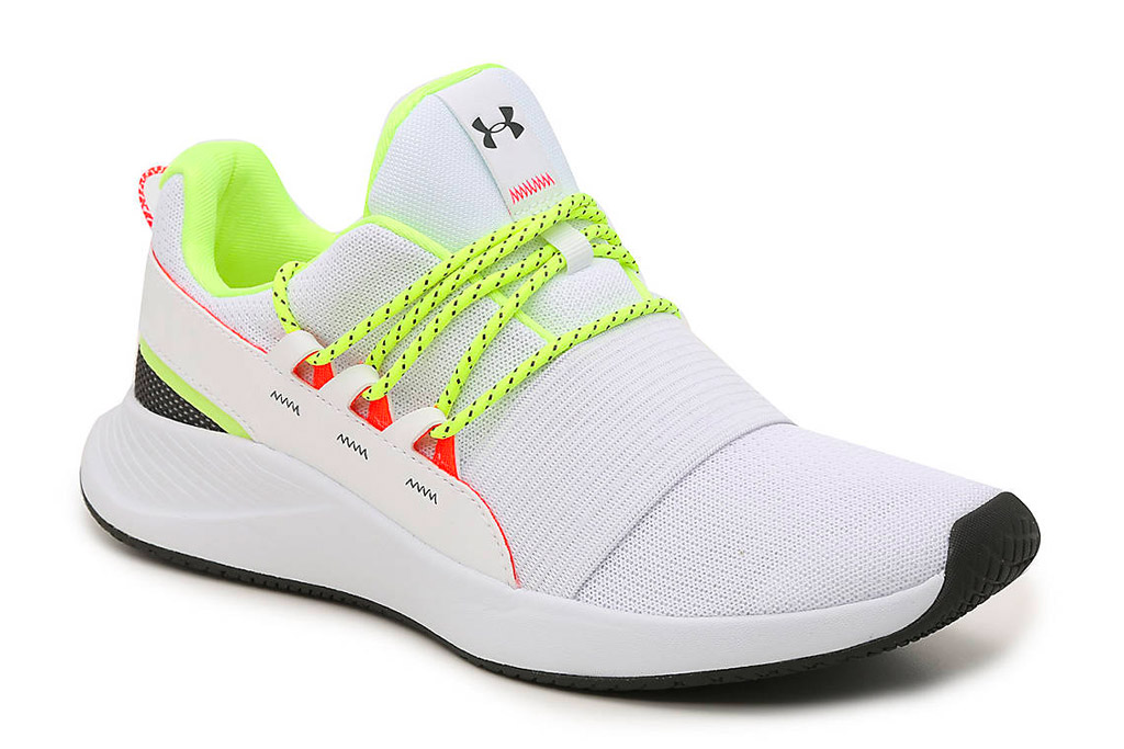under armour, running shoes, white, neon, yellow