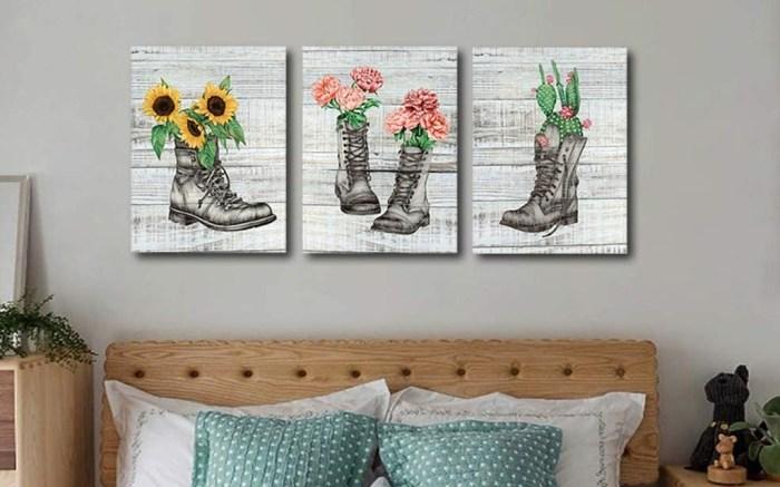 Meigan Art Flowers in Boots Wall Art