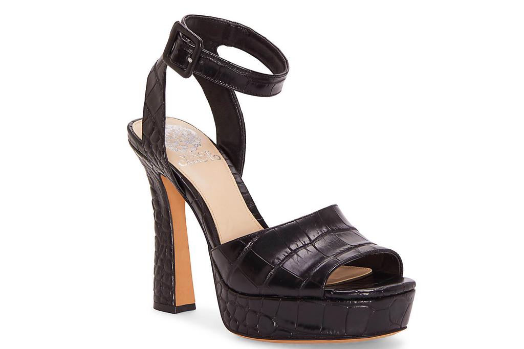 vince camuto, platform, peep toe, heels, black