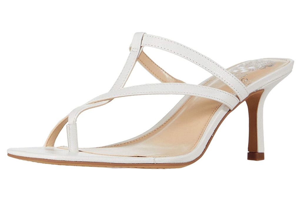vince camuto, sandals, thong, white