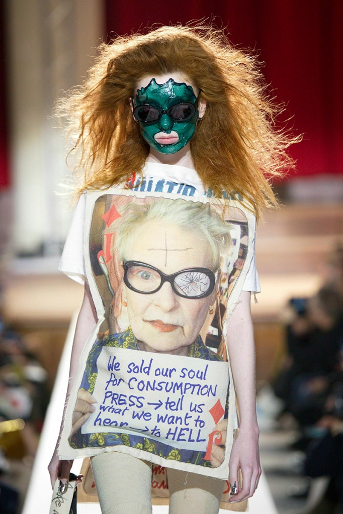 Model wears an outfit , as part of the women ready-to-wear winter 2019 2020, women fashion week, London, England, from the house of Vivienne Westwood (Sipa via AP Images)