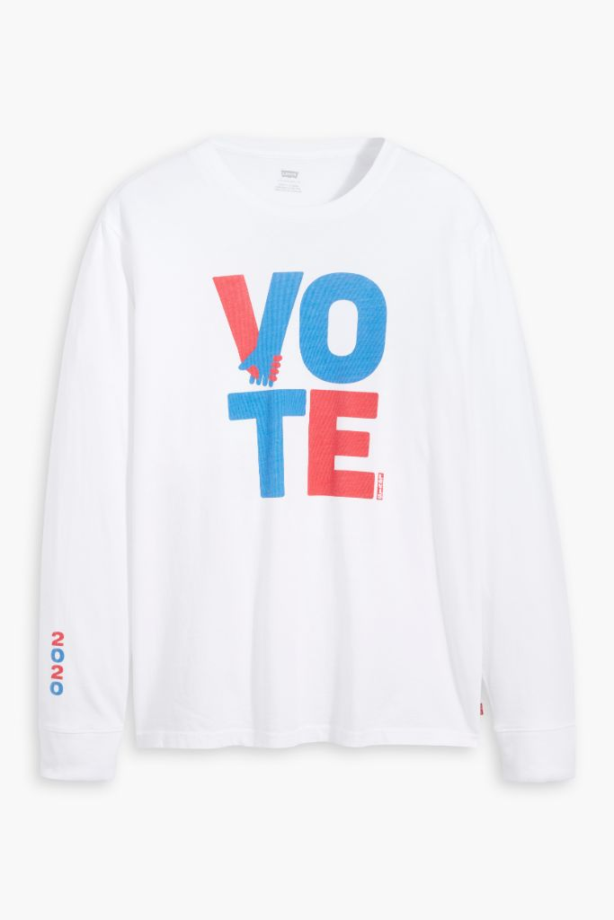 levi's, levi's vote, levi's vote tee, t-shirt, long sleeve t-shirt, hailey bieber, jaden smith, hailey bieber levi's