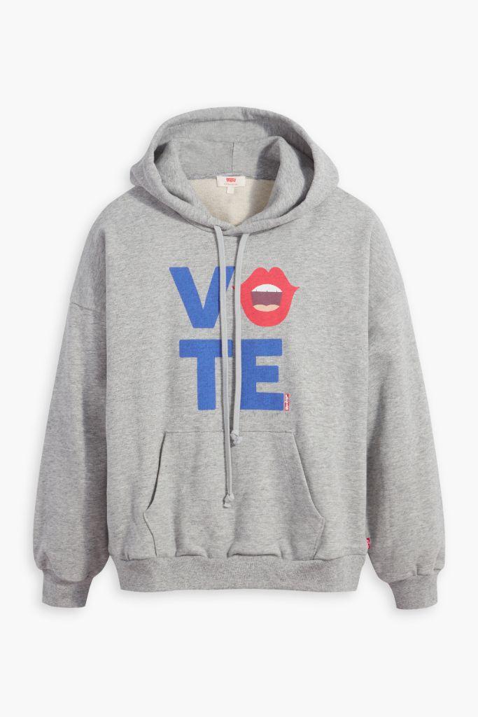levi's, levi's hoodie, levi's vote hoodie, levi's use your voice, levi's hailey bieber, hailey bieber