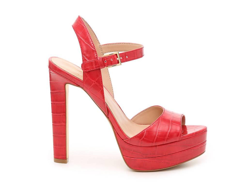 jennifer lopez x dsw, norela platform sandal, red platform sandal