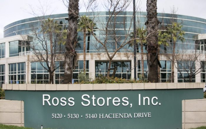 A logo sign outside of the headquarters of Ross Stores, Inc., in Dublin, California, on February 18, 2017. Photo by Kristoffer Tripplaar *** Please Use Credit from Credit Field ***(Sipa via AP Images)