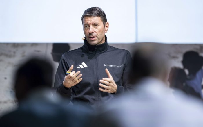 13 March 2019, Bavaria, Herzogenaurach: Kasper Rorsted, CEO of sporting goods manufacturer adidas AG, will speak at the company's annual press conference. Photo by: Daniel Karmann/picture-alliance/dpa/AP Images