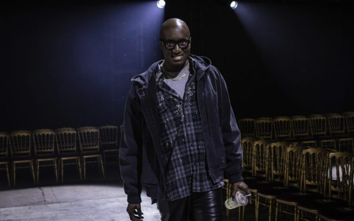 Designer Virgil Abloh poses prior to the Off White fashion collection during Women's fashion week Fall/Winter 2020/21 presented in Paris, Thursday, Feb. 27, 2020. (Photo by Vianney Le Caer/Invision/AP)
