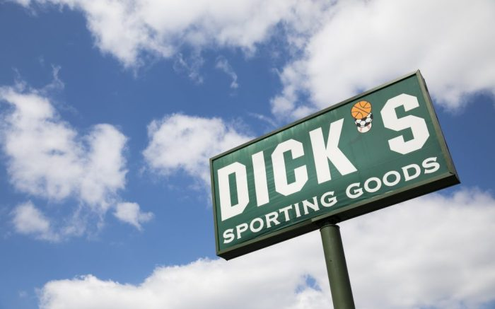 A logo sign outside of a Dick's Sporting Goods retail store location in Deptford Township, New Jersey on April 11, 2020. (Photo by Kristoffer Tripplaar/Sipa USA)(Sipa via AP Images)
