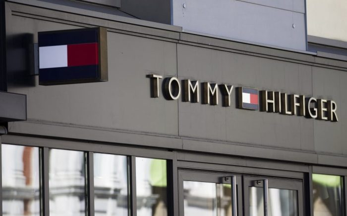 Osnabrueck, Germany 04/19/2020: Symbol pictures - 2020 Tommy Hilfiger, lettering, logo, feature / symbol / symbolfoto / characteristic / detail / | usage worldwide Photo by: Fotostand / Gelhot/picture-alliance/dpa/AP Images