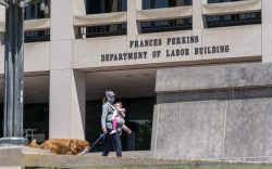 The entrance to the Labor Department