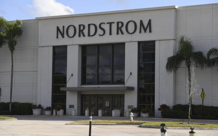 BOCA RATON, FL - MAY 11: Nordstrom is closing 16 of its stores permanently due to the Coronavirus COVID-19 pandemic on May 11, 2020 in Boca Raton, Florida. Credit: mpi04/MediaPunch /IPX