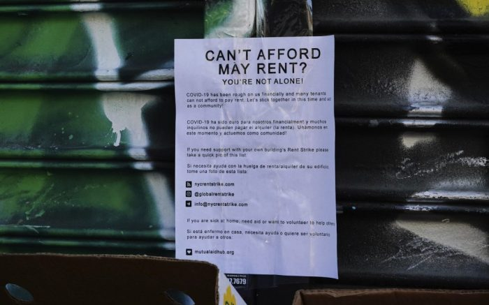 Photo by: John Nacion/STAR MAX/IPx 2020 5/16/20 A view of a poster offering help with rent during the coronavirus pandemic on May 16, 2020 in New York City. COVID-19 has spread to most countries around the world, claiming over 308,000 lives with over 4.6 million infections reported. (NBC News)—— House passes' $3T 'HEROES' aid for stimulus checks, rent assistance.