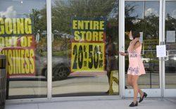 A shopper walks away from a