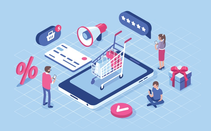 Illustrated graphic of online shopping and ecommerce checkout