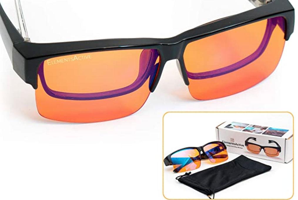 Elements Active, Fitover, Anti-Blue Blocking, Computer Glasses | Fits Over, Prescription Eyeglasses | Amber Orange to Block Blue Light | Better Night Sleep & Reduce Eyestrain Migraine Headaches InsomniaBlue Light