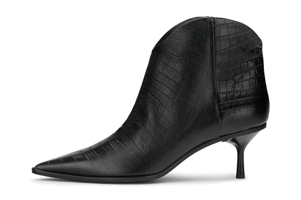 agl black booties, croc embossed booties, AGL croc print booties