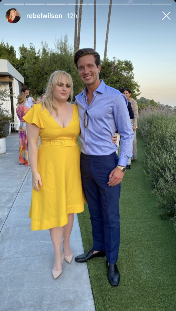 rebel wilson, yellow, dress, heels, nude, wedding, pumps, weight loss