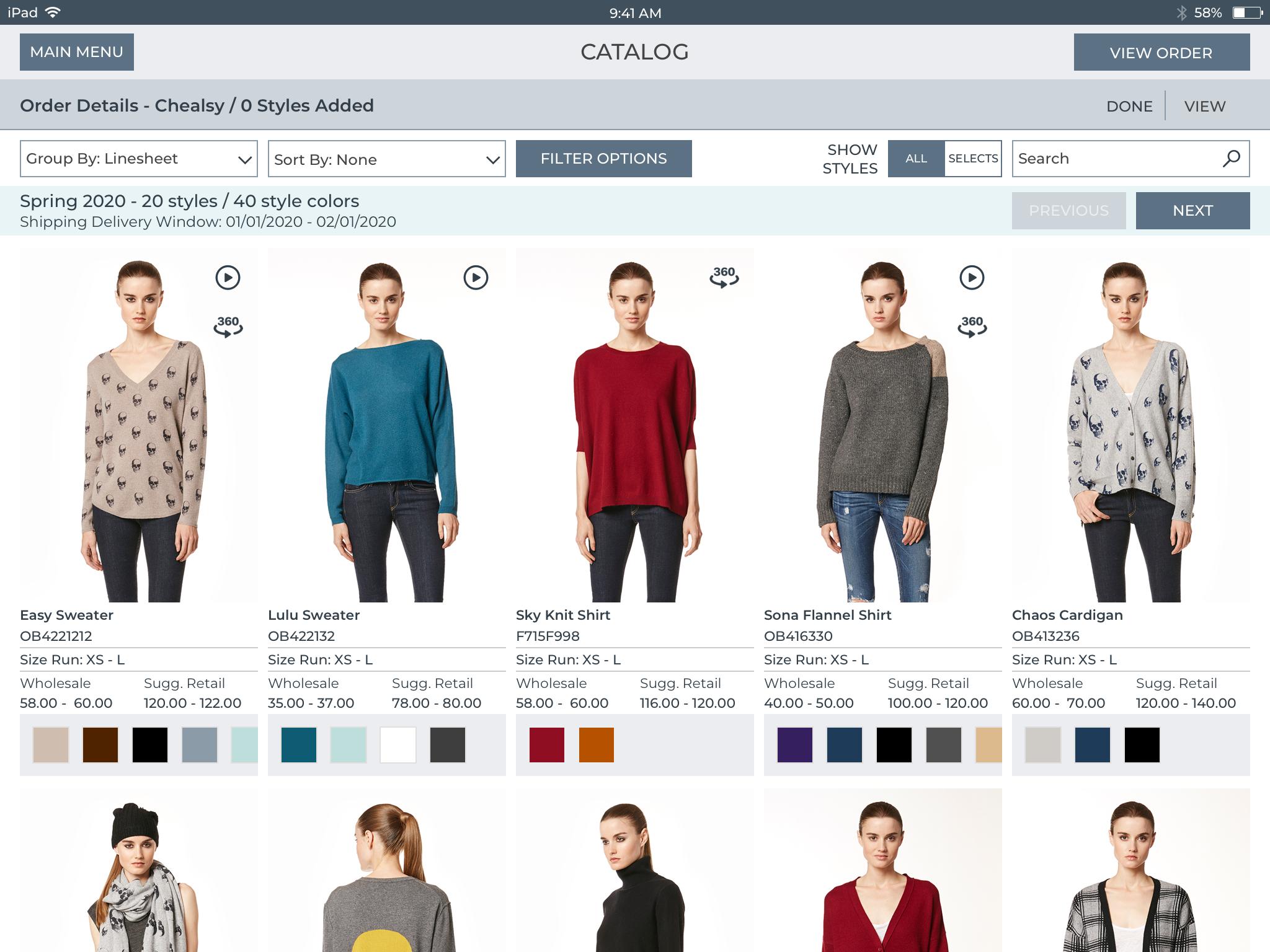 Screenshot of the Joor order merchandise planning platform for retailers