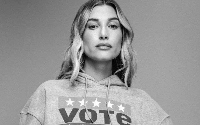 hailey bieber, hailey bieber levis, levis use your voice, levis vote campaign, election 2020