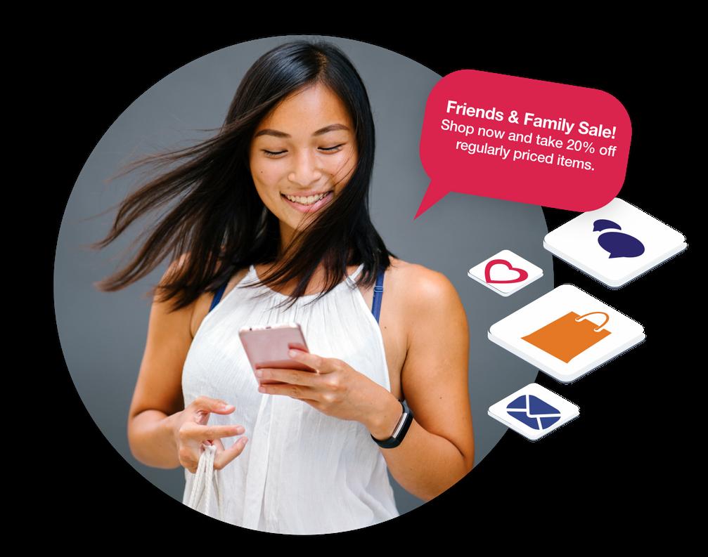 Woman using smartphone for e-commerce Listrak Marketing image