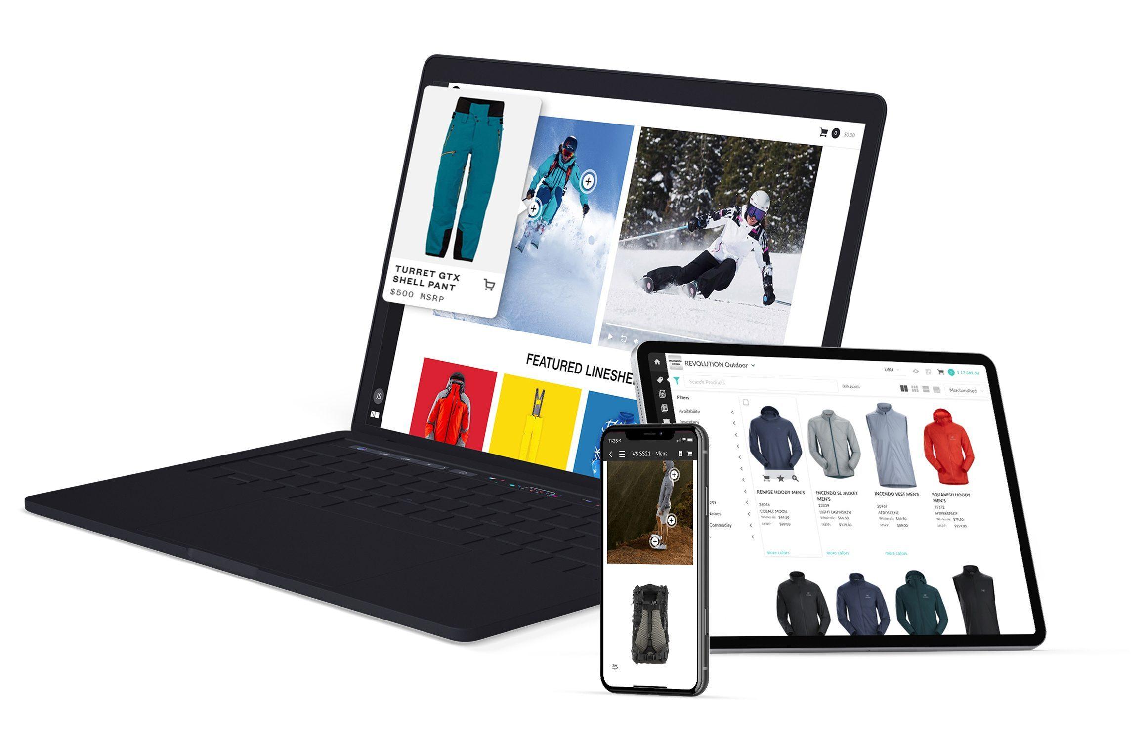Desktop tablet and smartphone screen of NuOrder platform for outdoor market