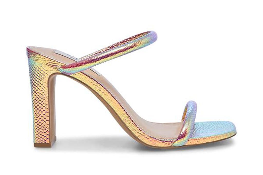 steve madden sandal, iridescent sandal, jaccee sandal