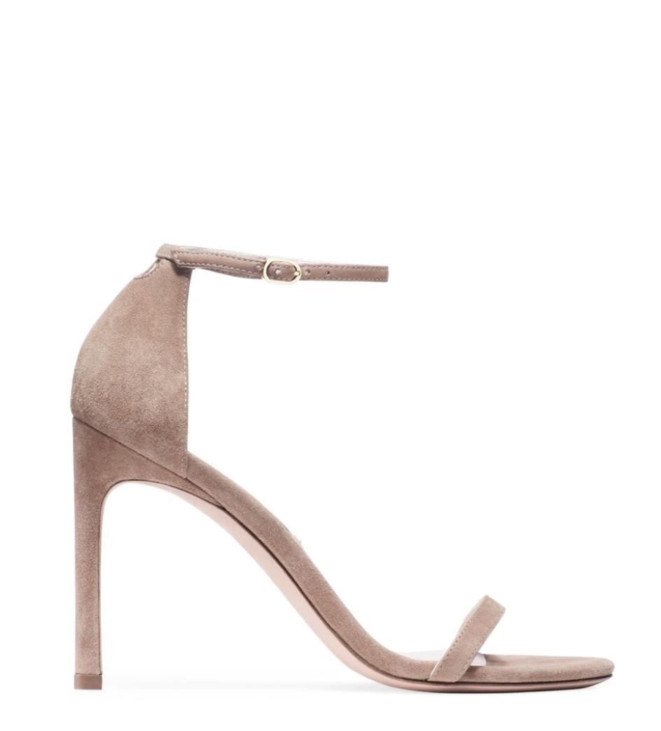 suede sandal, heels