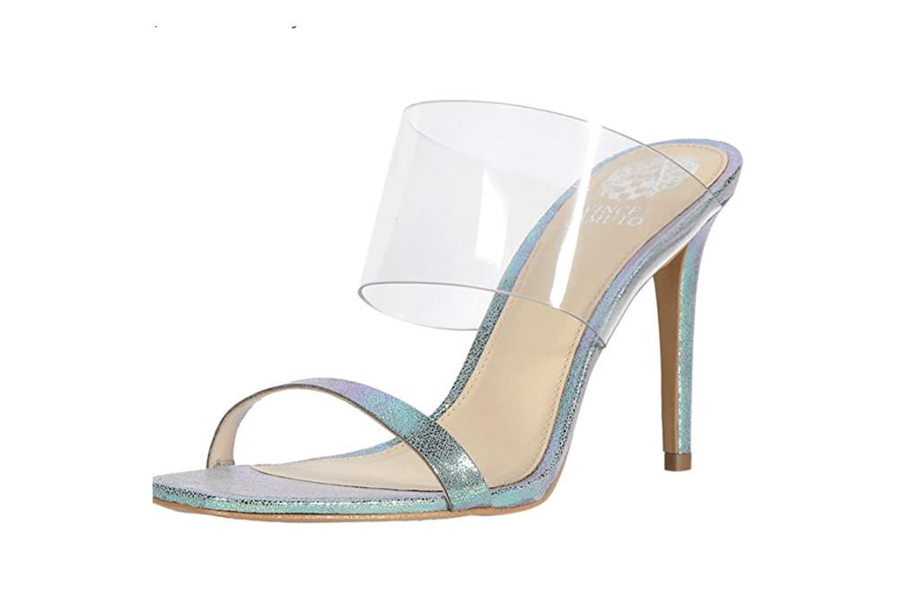 vince camuto sandal, iridescent sandal, amazon sandal