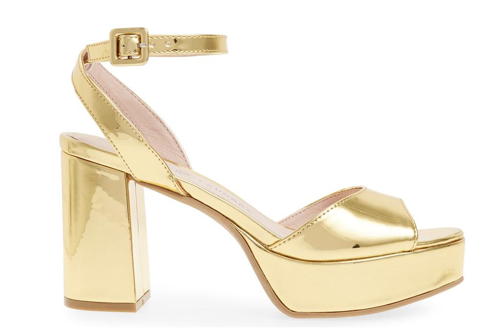 chinese laundry platform, golden heel, metallic heel