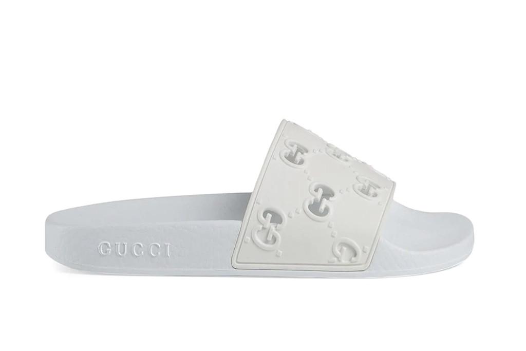 gucci slides, white slides, rubber gucci slides