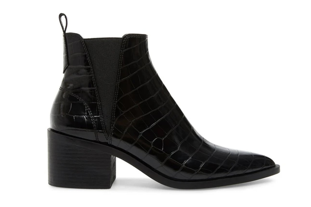 steve madden boots, croco embossed boots, black boots