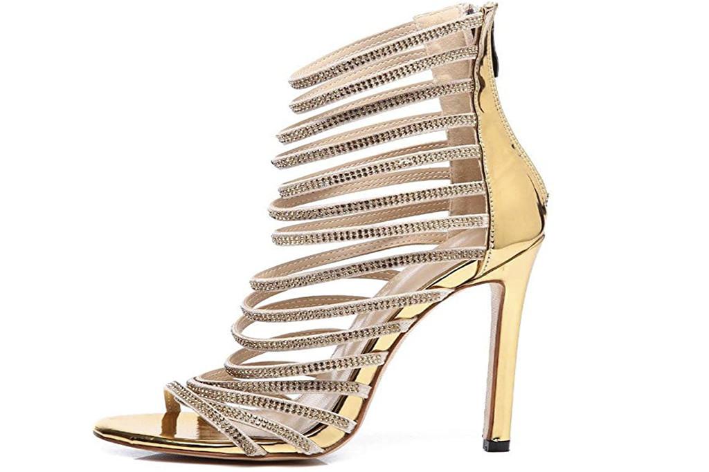 gold gladiator heel, metallic pump, amazon shoes
