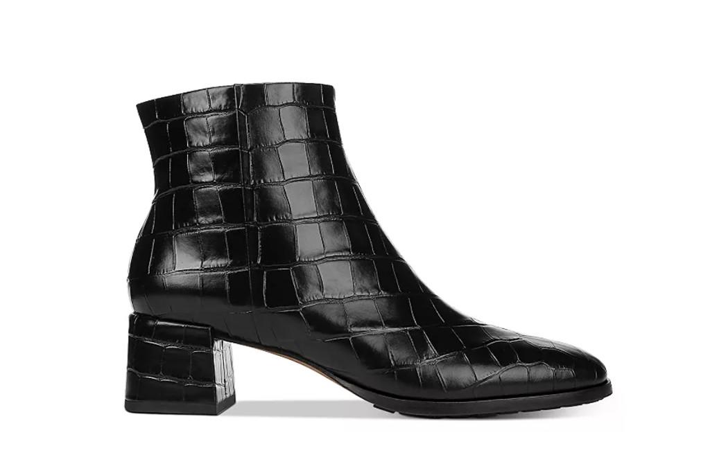 via spiga bootie, black croc boots, black booties