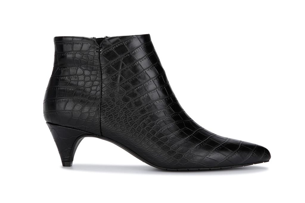 black booties, black croc embossed boots, kitten heel booties