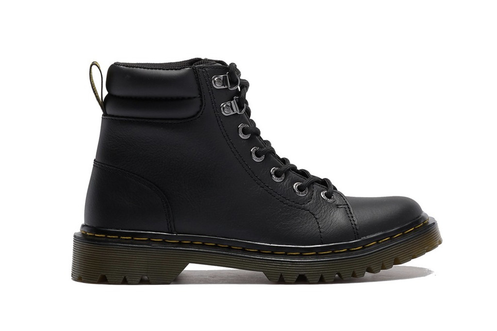 dr. martens, Faora Mid Top Leather Boot, black leather boots