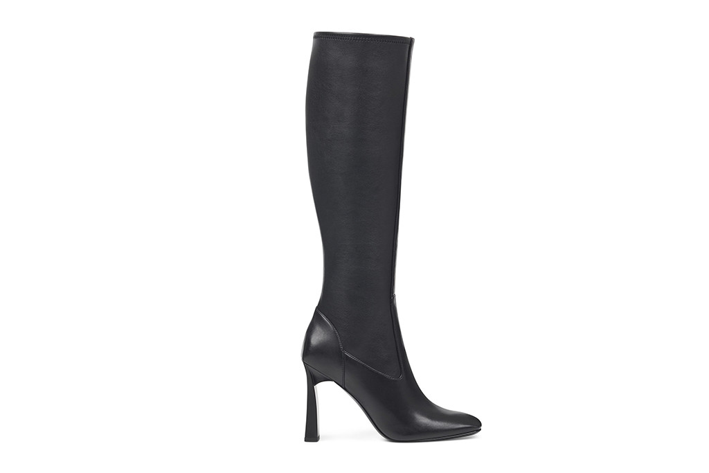 nine west boot, square toe thigh high boot, black boots