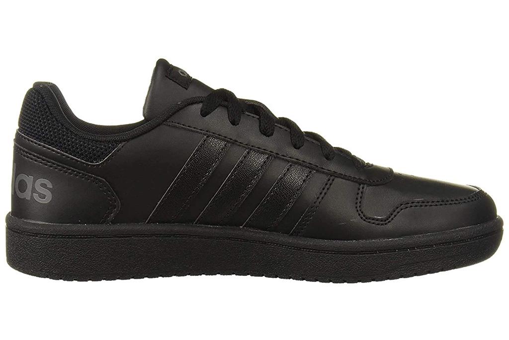 black sneakers, low top, womens, adidas, hoops