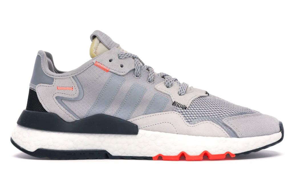 adidas, sneakers, nite jogger, gray, orange