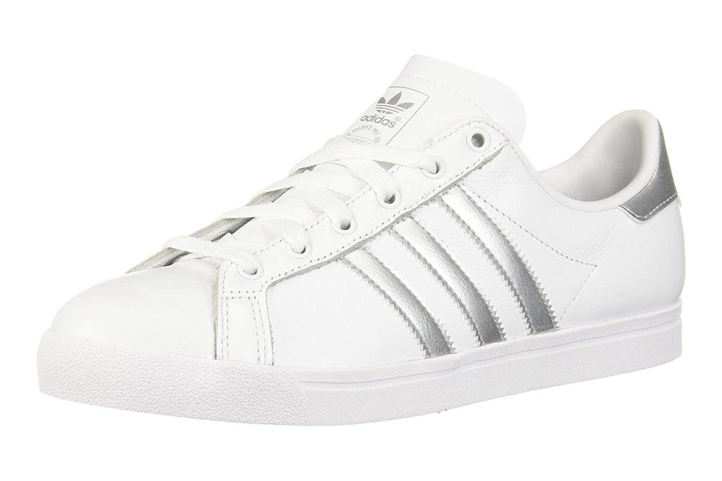 adidas, sneakers, metallic, silver, white