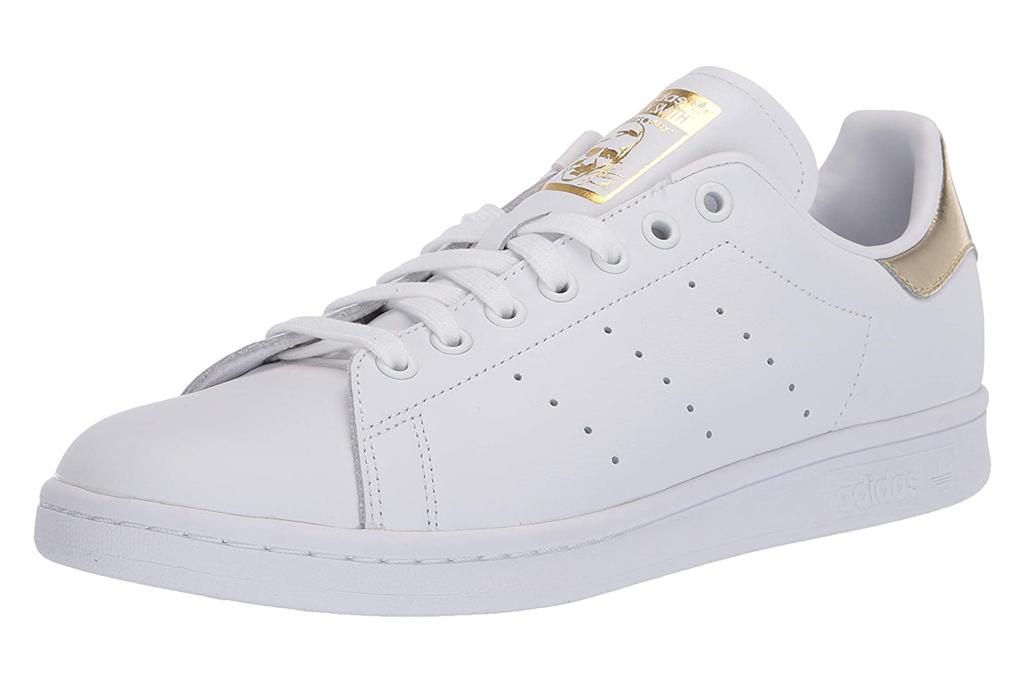 sneakers, white, gold, adidas, stan smith