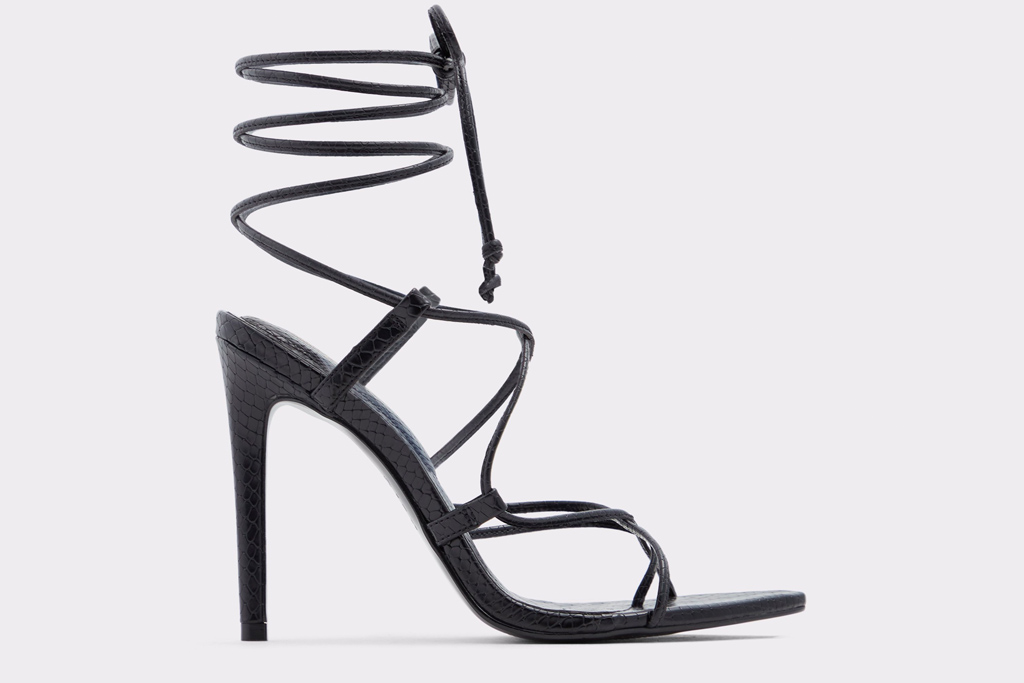 aldo, heels, black, strappy, pointed
