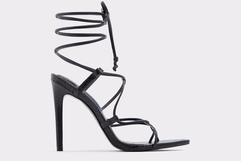 aldo, heels, black, strappy, pointed