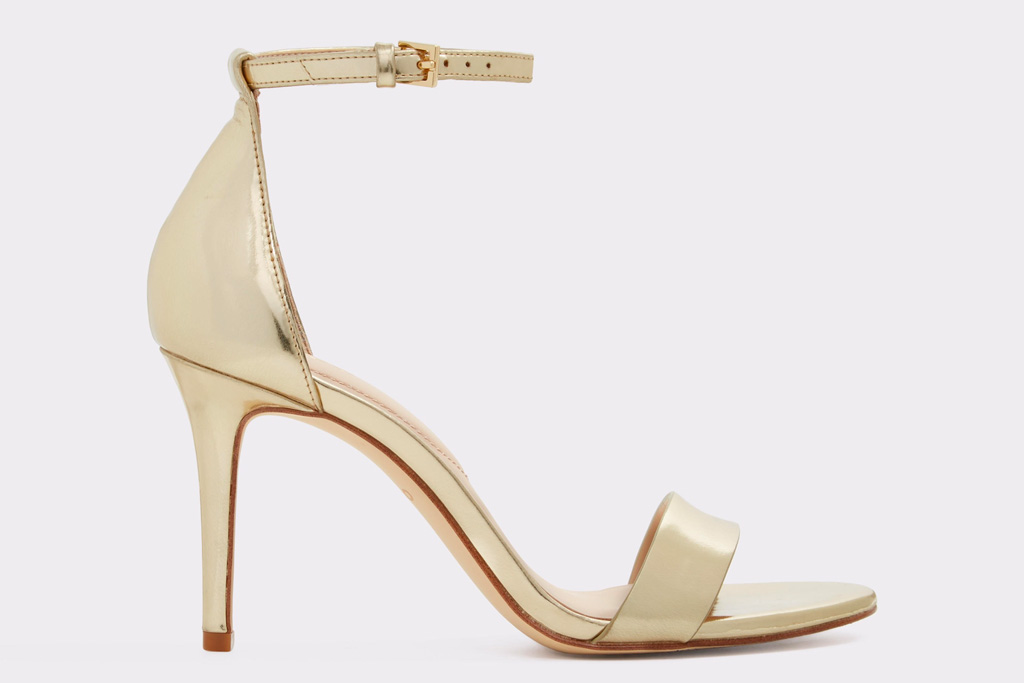 aldo, gold sandals, heel, stiletto, metallic