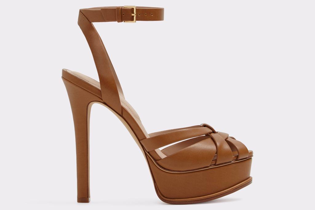 brown sandals, platform, heels, peep toe, aldo