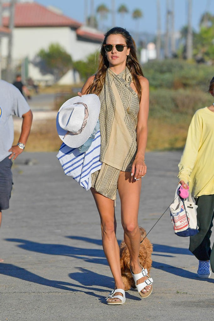 Alessandra Ambrosio spends a fun day at the beach playing volleyball and taking a dip in the ocean in Malibu. 01 Aug 2020 Pictured: Alessandra Ambrosio. Photo credit: SNORLAX/MEGA TheMegaAgency.com +1 888 505 6342 (Mega Agency TagID: MEGA692215_026.jpg) [Photo via Mega Agency]