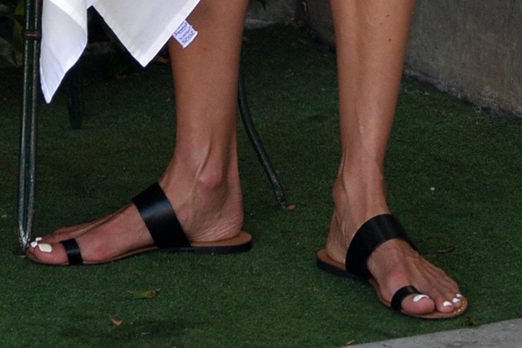 alessandra ambrosio, short shorts, sandals, big toe sandals, sweater, shirt, los angeles, dinner
