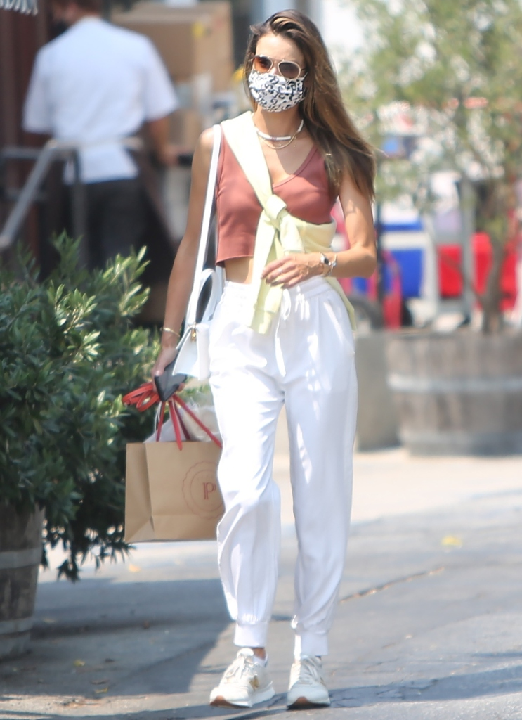 alessandra ambrosio, joggers, sandals, shorts, jean shorts, tank top, striped shirt