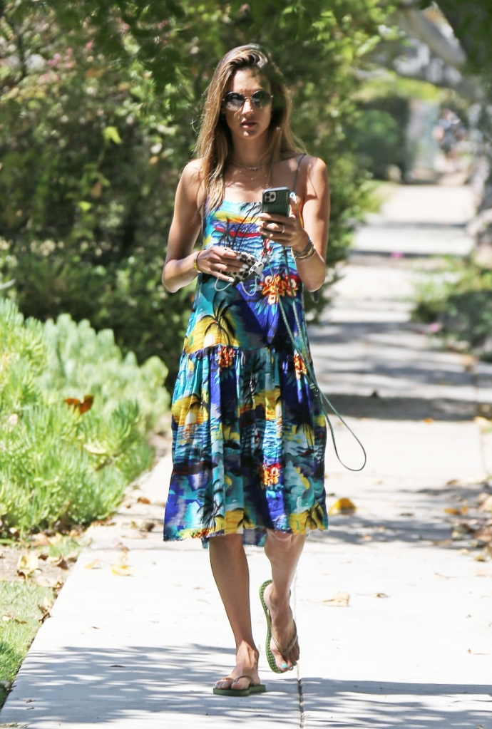 alessandra ambrosio, walk, sandals, shorts, jean shorts, tank top, dress