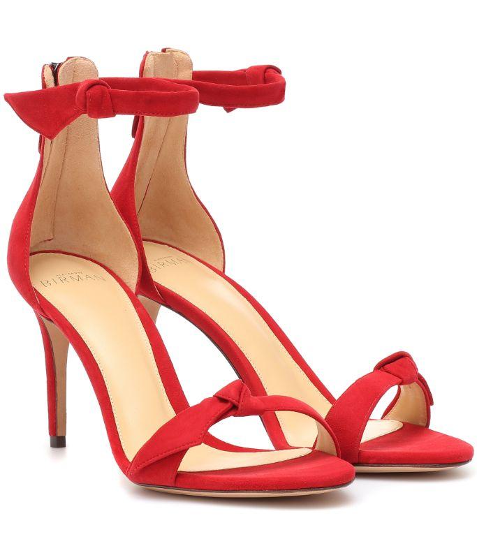 alexandre birman, alexandre birman sandals, women's sandals, red sandals, suede heels, red heels, eva chen