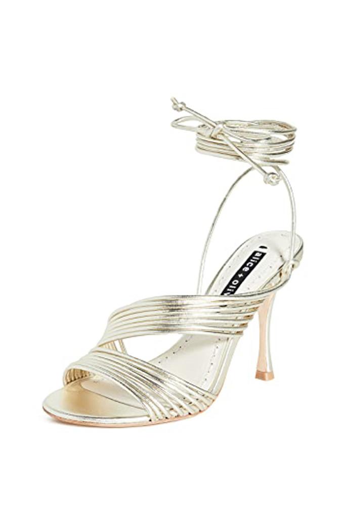 alice + olivia shoes, metallic heels, metallic sandals